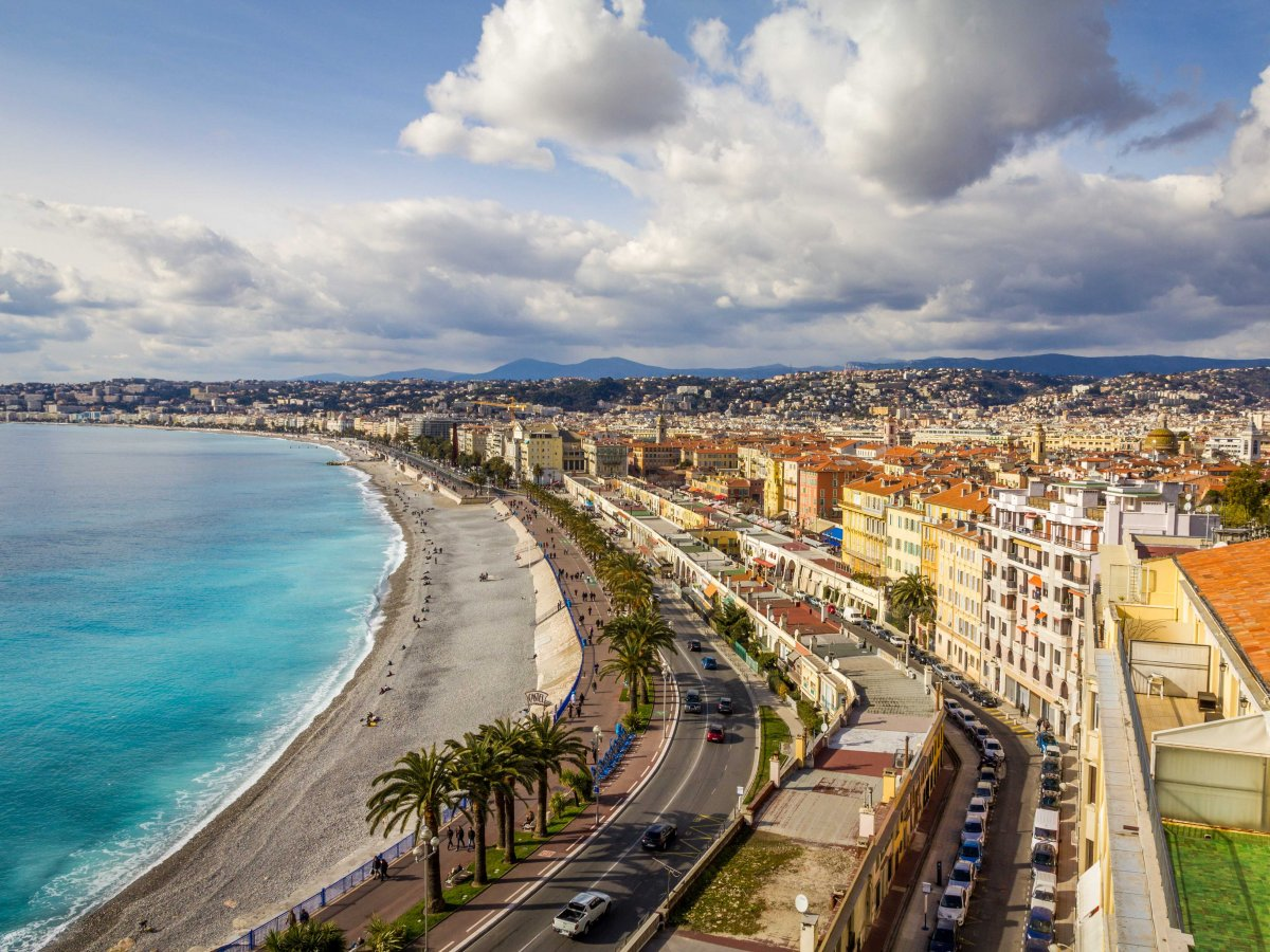 Admire the sea views in Nice from the Promenade des Anglais.