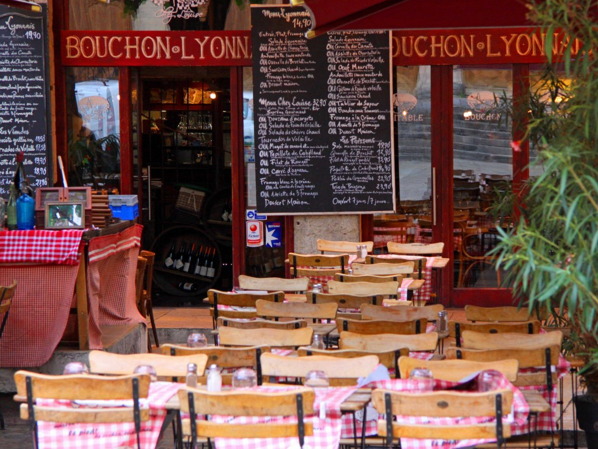 Gorge on pâté, sausages, and all sorts of pig products at a traditional bouchon in Lyon, the unofficial foodie capital of France.